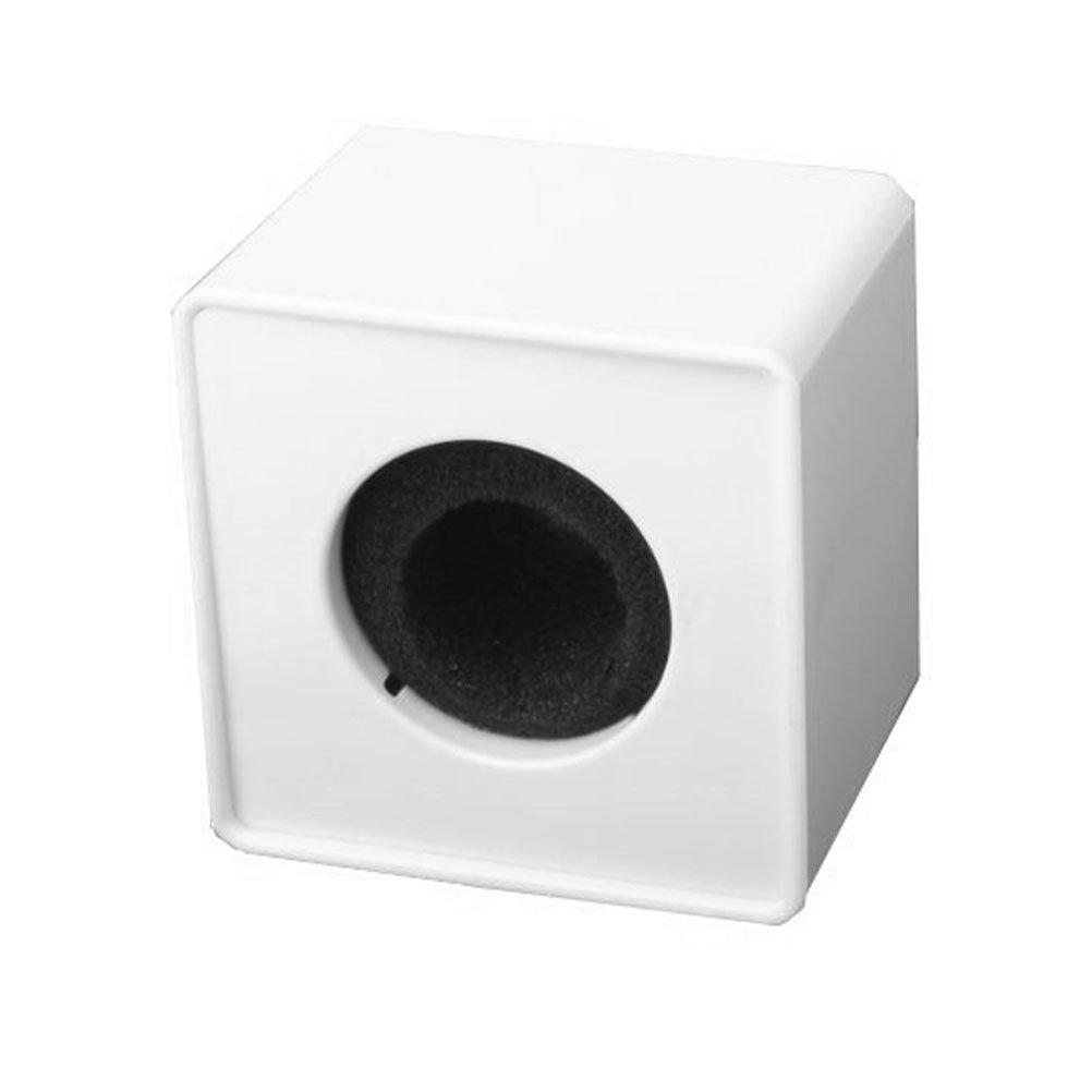 Tinksky Cubo quadrato a forma di intervista microfono Logo bandierina stazione Logo (bianco)