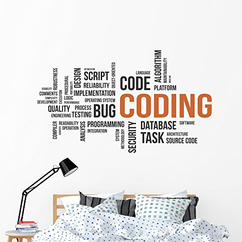 Wallmonkeys Coding Word Cloud Wall Decal Peel and Stick Business Graphics (60 in W x 35 in H) WM183053