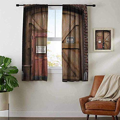 Zombie, Curtains Small Window, Monsters Behind Wooden Door Demon Halloween Holiday Fear Fantasy Picture, Curtains Nursery, W54 x L39 Inch Umber Chestnut Brown -