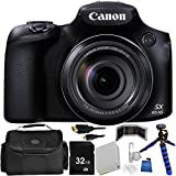 Canon PowerShot SX60 HS Digital Camera - International Version (No Warranty) 32GB Bundle 14PC Accessory Kit Which Includes Replacement NB-10L Battery, 5 Piece Camera Cleaning Kit, More