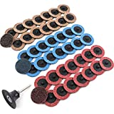M-Aimee 45pcs 2 Inches Surface Conditioning Disc Sanding Discs, Roloc Quick Change Disc with a Quater Inches Holder (Each 16pcs of Fine Medium Coarse)
