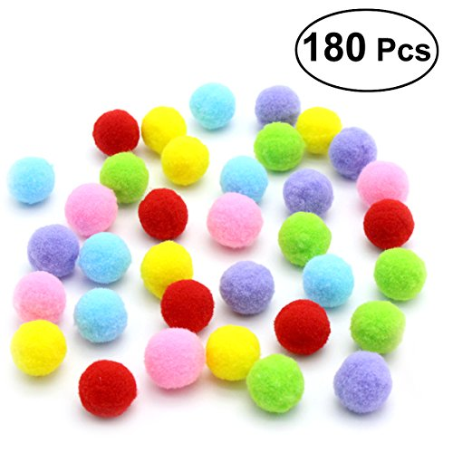 UEETEK 180PCS 3.5CM Cat Toys Assorted Color Soft Cat Toy Balls Kitten Toys Pompon Balls (Mix Color)