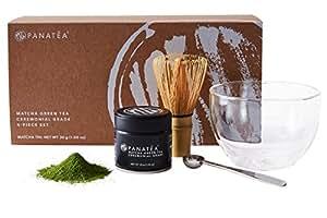 PANATEA Matcha Green Tea Set 100% Pure Ceremonial Grade Japanese Matcha Powder - Includes 30 Gram Matcha Tin, Measuring Scoop, Bamboo Whisk and aDouble Wall Glass Bowl the Perfect Matcha Starter Kit
