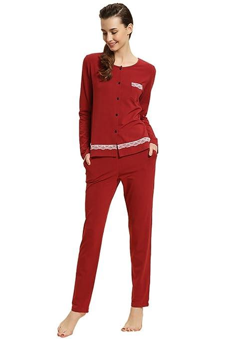 MissFox Mujer Sencillo Encaje Diseño De Manga Larga Pijamas Conjunto Size XXL Vino Rojo