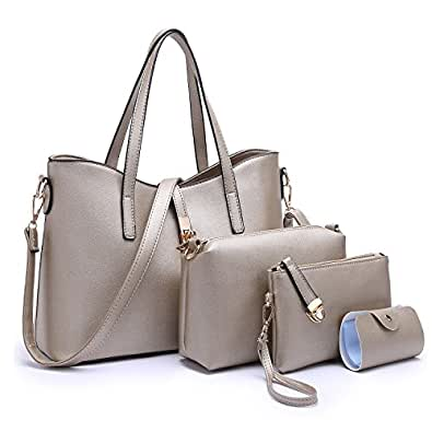 Tibes Fashion Women's PU Leather Handbag+Shoulder Bag+Purse+Card Holder 4pcs Set Satchel Bronze