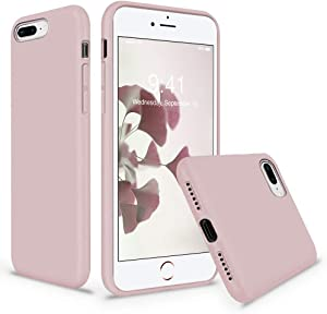 Vooii iPhone 8 Plus Case, iPhone 7 Plus Case, Soft Silicone Gel Rubber Bumper Case Microfiber Lining Hard Shell Shockproof Full-Body Protective Case Cover for iPhone 7 Plus /8 Plus - Sand Pink