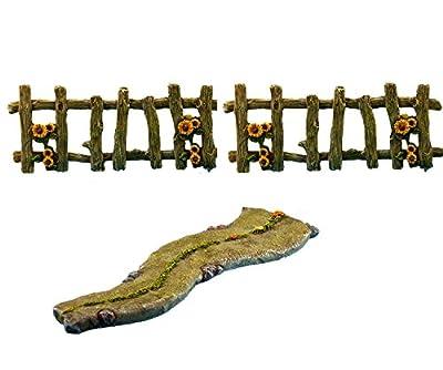 Fairy Garden Walkway & Fences Kit – Miniature Accessories – 3 Pieces - By Pretmanns