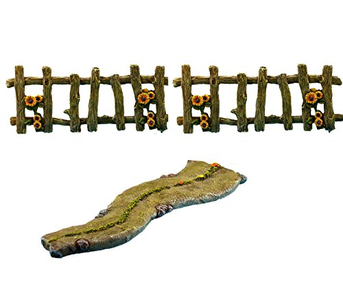 PRETMANNS Fairy Garden Accessories Kit - Miniature Walkway & Fences - 3 Pieces