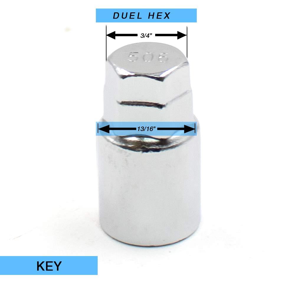 Chrome Cone Seat Wheel Locks Set of 4 Dual Hex Key Wheel Accessories Parts 5559172393 7//16 Thread Size