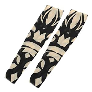 Breathable Fake Tattoo Cycling Arm Sleeve 2pcs Black Beige