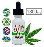 Hemp Oil by Sun Stripe Organic - 1800mg Full Spectrum Hemp Extract for Pain Relief, Stress Relief, Anxiety Relief and Sleep. Certified Organic Hemp Oil Supplement. 30ml / 1.0 Ounce.