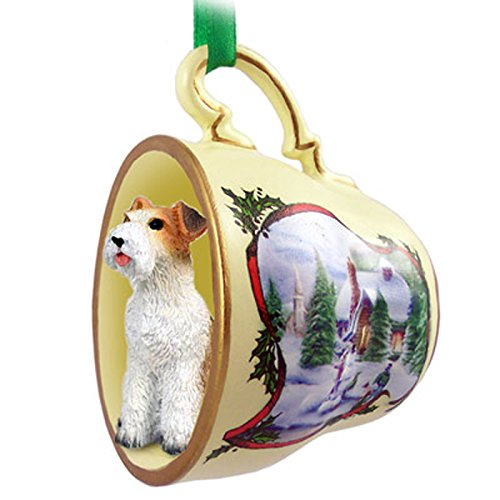 Wirehair Fox Terrier Ornament Figurine Christmas Holiday - Christmas Teacup Terrier Ornament