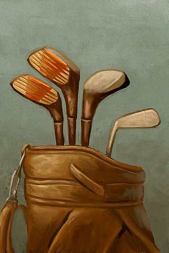 Golf Clubs - Oil Painting (12x18 SIGNED Print Master Art Print w/Certificate of Authenticity - Wall Decor Travel Poster)