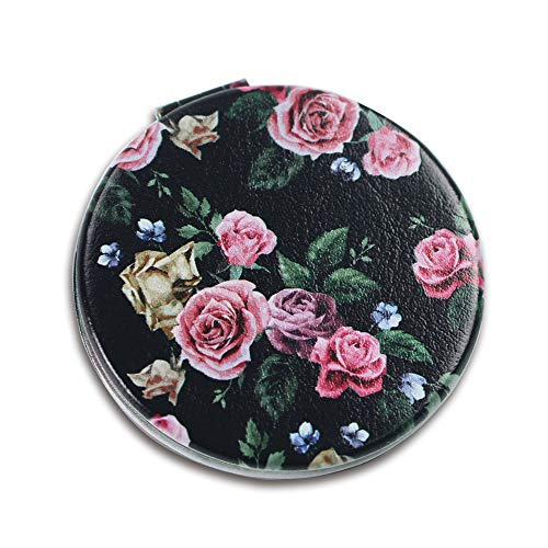 - Lizimandu Metal Compact Mirror- 3X Magnifying MakeUp Mirror - Perfect for Purses - Travel - 2-sided with 3X Magnifying Mirror and 1X Mirror(Black Rose)