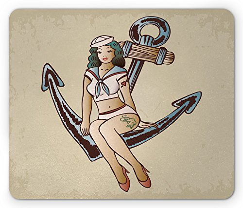 Heart Tattoo Sailor (Ambesonne Anchor Mouse Pad, Pinup Girl with Sailor Outfit Shark and Heart Tattoo Vintage Twenties Illustration, Standard Size Rectangle Non-Slip Rubber Mousepad, Multicolor)