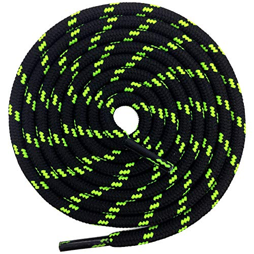 DELELE 2 Pair Non-slip Outdoor Mountaineering Hiking Walking Shoelaces Round Black Fluorescent Green String Rope Boot Laces Strong Durable Bootlaces-47.24