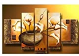 FLY SPRAY 5-Piece Hand-Painted Brown Oil Paintings