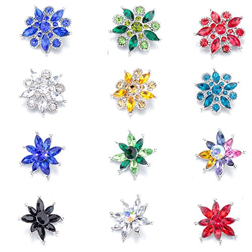 Soleebee 12pcs Mixed Alloy Rhinestones Snap Buttons Jewelry Charms (Big Rhinestones Flower) (Snap Rhinestone)