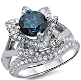 Smjewels 1.70 Ct Blue Round Sim.Diamond Lotus Flower Engagement Ring Set 14K White Gold Plated