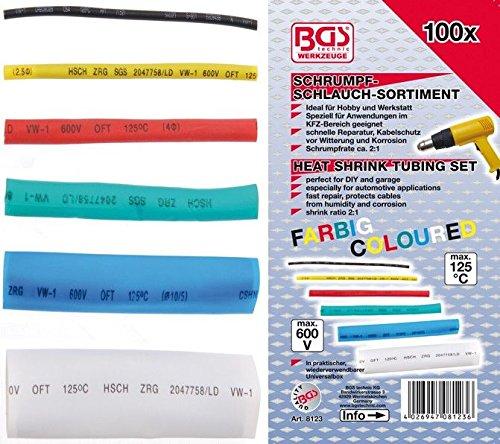 BGS Technic 8123 - Surtido de fundas termorretrá ctiles de colores - 100pzs BGS-8123