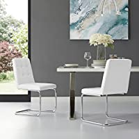 Clyde White Armless Dining Chair | Set of 2 | PU Leather | Button Tufted | Chrome Frame | Modern & Contemporary by Inspired Home