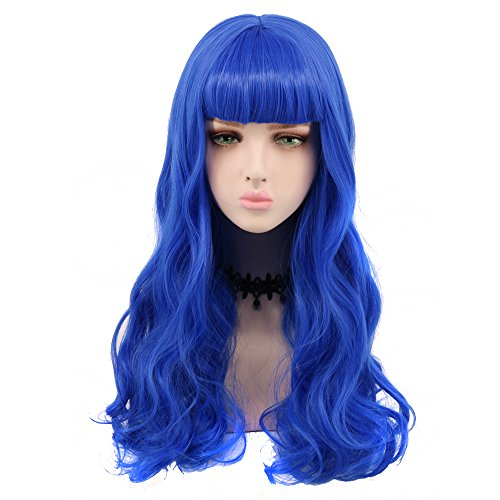Yuehong Purple Cosplay Wig With Flat Bangs Hair Wigs Heat Resistant Synthetic Wigs For Women Natural Looking Wig -