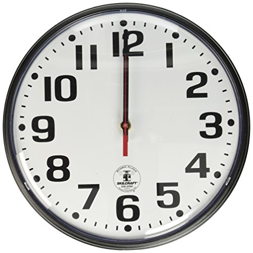 SKILCRAFT 6645-01-491-9814 Plastic Atomic Slimline Wall Clock with White Face, 12-3/4-Inch Diameter, Black