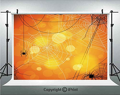 Halloween Photography Backdrops Spiders Arachnid Insects Cobweb Thread Trap on Abstract Bokeh Backdrop Decorative,Birthday Party Background Customized Microfiber Photo Studio Props,5x3ft,Orange Yellow ()