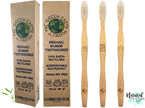 Organic Bamboo Toothbrush Biodegradable Eco-Friendly Sustainable Premium Wooden Toothbrushes - Pack of 3 - Medium Soft BPA / PVC FREE White Bristles for Adults with Sensitive Gums FREE - Alto Degrade