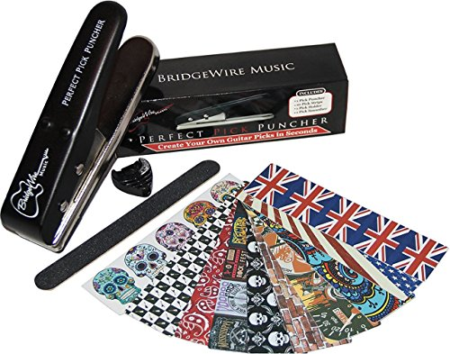 Guitar Pick Punch - Create Custom Guitar Picks in Seconds. Includes 10 Rock & Roll Inspired Pick Strip Sheets to Make 50 Medium Picks + Pick Holder & Pick File - DIY Pick Maker by BridgeWire Music (Pick Cutter compare prices)