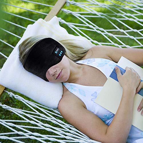 Sleep Headphones Bluetooth Eye Mask, Joseche Wireless Bluetooth 5.0 Headphones Music Travel Sleeping Headphones Handsfree Sleeping Mask with Built-in Speakers Microphone Washable (Black)