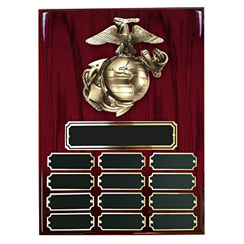 Customizable 9 x 12 Perpetual Cherry Piano Finish Plaque with Brass U.S. Marine Emblem, includes Personalization