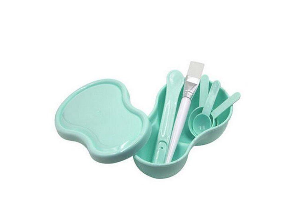 Lady Women Girls Homemade Mask Bowl Gauge Stick Brush Powder Puff Set (7 in 1) DIY Facial Skin Care Cosmetic Makeup Tool (Green) erioctry