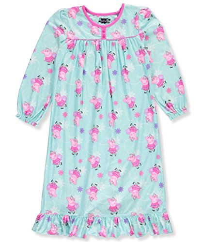Astley Baker Davies Peppa Pig Girls Flannel Granny Gown Nightgown (2T, Turquoise) (Toddler Flannel Nightgown)