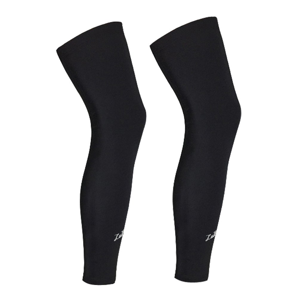Long Compression Leg Sleeve for Women Men - Luwint Comfortable and Non-Slip UV Protection Leg Knee Brace Support for Sports Basketball Running Cycling, Black, 1 Pair (XXL (21.2''~22.8''))