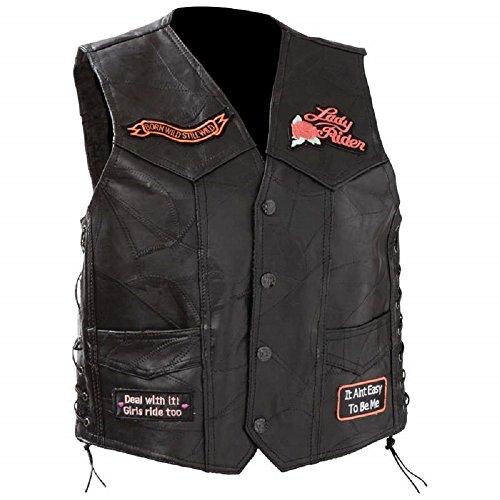 Diamond PlateTM Ladies' Rock Design Genuine Leather Vest L