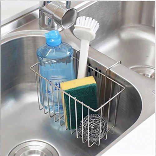 SANNO Kitchen Sink Sponge Holder,In Sink Caddy Utensil Holder Brush Soap Dish washing Organizer Tray Liquid Drainer Rack - Stainless Steel by SANNO (Image #6)