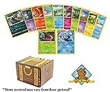 50 Pokemon Cards 2 Holo Rares! Includes Golden Groundhog Treasure Chest Box!