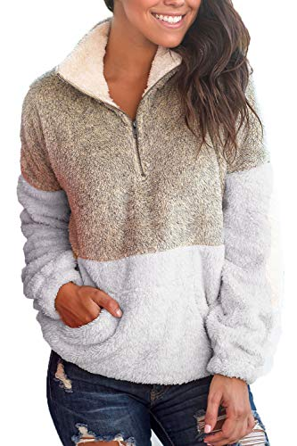 TODAY Women Warm Pullover Contrast Color Plush Pocket Classic Sweaters