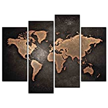 SmartWallArt - Still Life Paintings Wall Art World Map with Brown Background 4 Panel Picture Print on Canvas for Modern Home Decoration