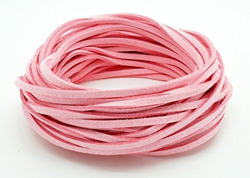 PINK 3mm x 1.5mm Faux Suede Cord Leather Lace Bracelet Necklace Making (10yards Skein) (Necklace Pink Suede)