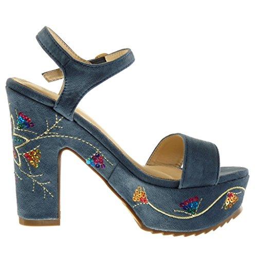 Angkorly - Chaussure Mode Sandale lanière cheville plateforme femme brodé fantaisie Talon haut bloc 12.5 CM - Bleu