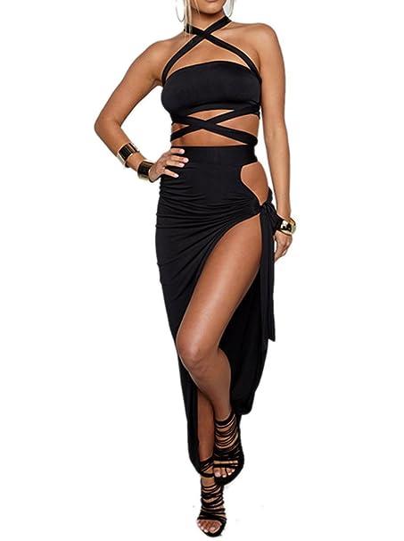92f1d634cf5 WO-STAR Women s Crop Top Long Skirt Solid Club Dresses Two Piece Set Black S