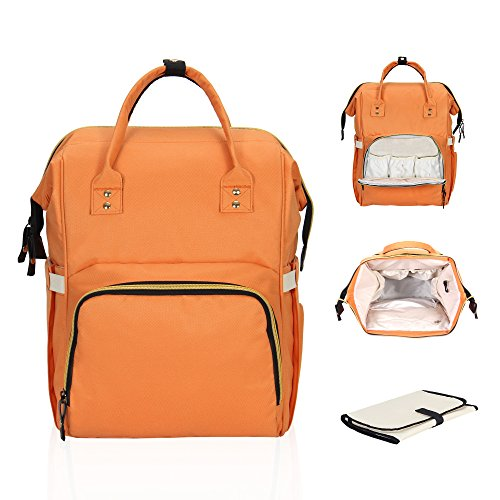 Hynes Eagle Multi-function Baby Diaper Bag Backpack for Dad Mom Stylish Nappy Bag with Changing Pad Orange by Hynes Eagle