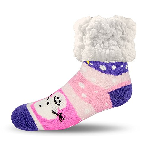 (Pudus snowman pink adult regular cozy winter classic slipper socks with grippers)