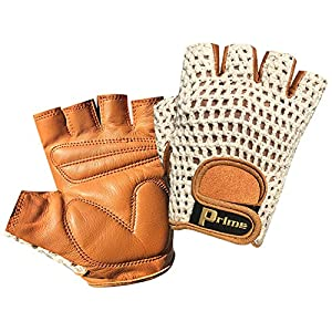 Top Quality Fingerless Net Cycle Padded Gloves Biker Fitness Gym Body Building 411 (Tan with white net, L)
