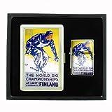 Ski Finland 1938 Retro Travel Cigarette Case and Oil Lighter Gift Set D-251