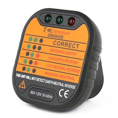 Light Pattern Neutral Earth (DMiotech Receptacle Tester Circuit Analyzer US Voltage 90-120V AC Socket Outlet Tester Meter Live Line Checker DM6860B)