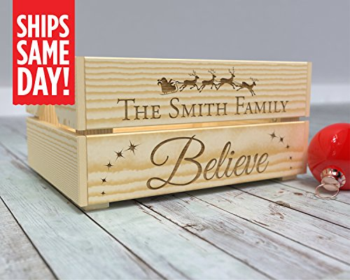 Christmas Eve Box, Christmas Box, Present Box, Christmas Eve Crate, Kids Crate, Xmas Eve, Gift from Santa, Personalized, Believe in Santa, Santa Surprise -CR14 from Canoe Baby Crafts