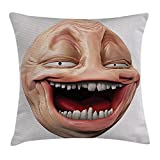 Queen Area Humor Decor Poker Face Guy Meme Laughing Mock Person Smug Stupid Odd Post Forum Graphic Square Throw Pillow Covers Cushion Case for Sofa Bedroom Car 18x18 Inch, Peach Pearl